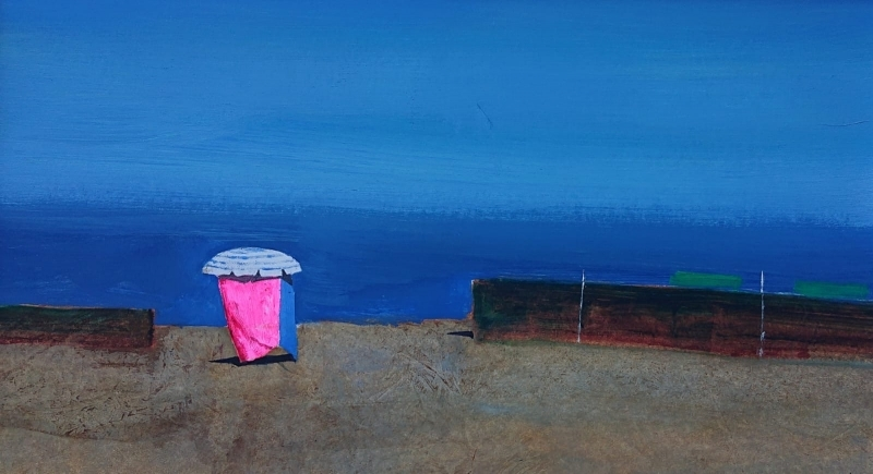 painting of a public beach in Versilia