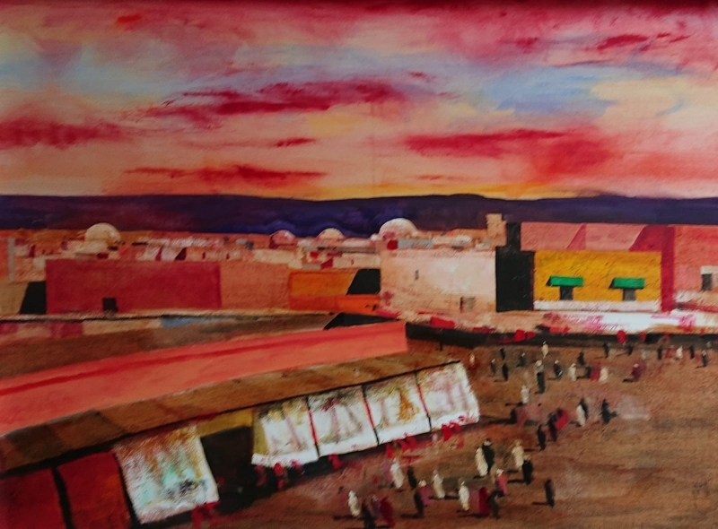 oil painting sunset in Marrakesh