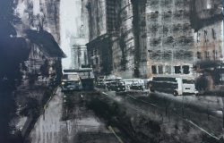 painting of New York City black and white